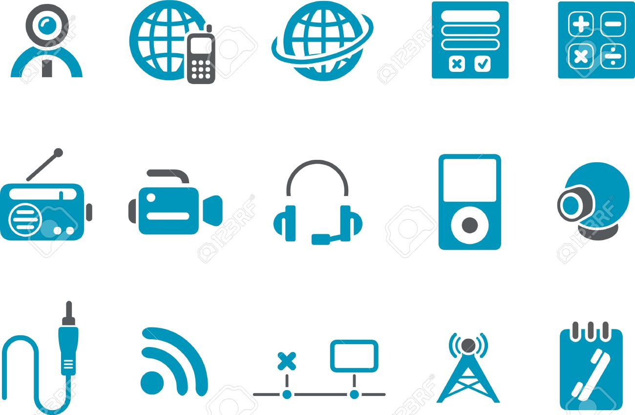 Vector Icons Pack Blue Series Electronic Collection Royalty Free