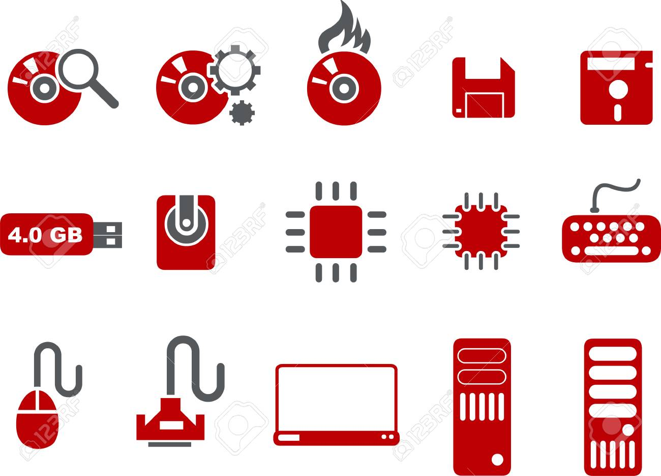 Vector icons pack - Red Series, computer collection Stock Vector - 5057596