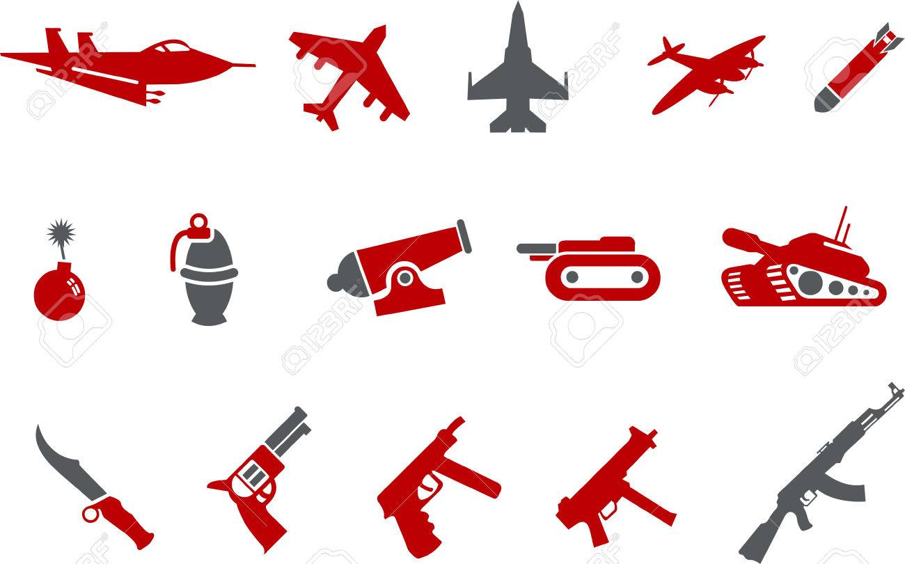 Vector icons pack - Red Series, weapons collection Stock Vector - 5057498