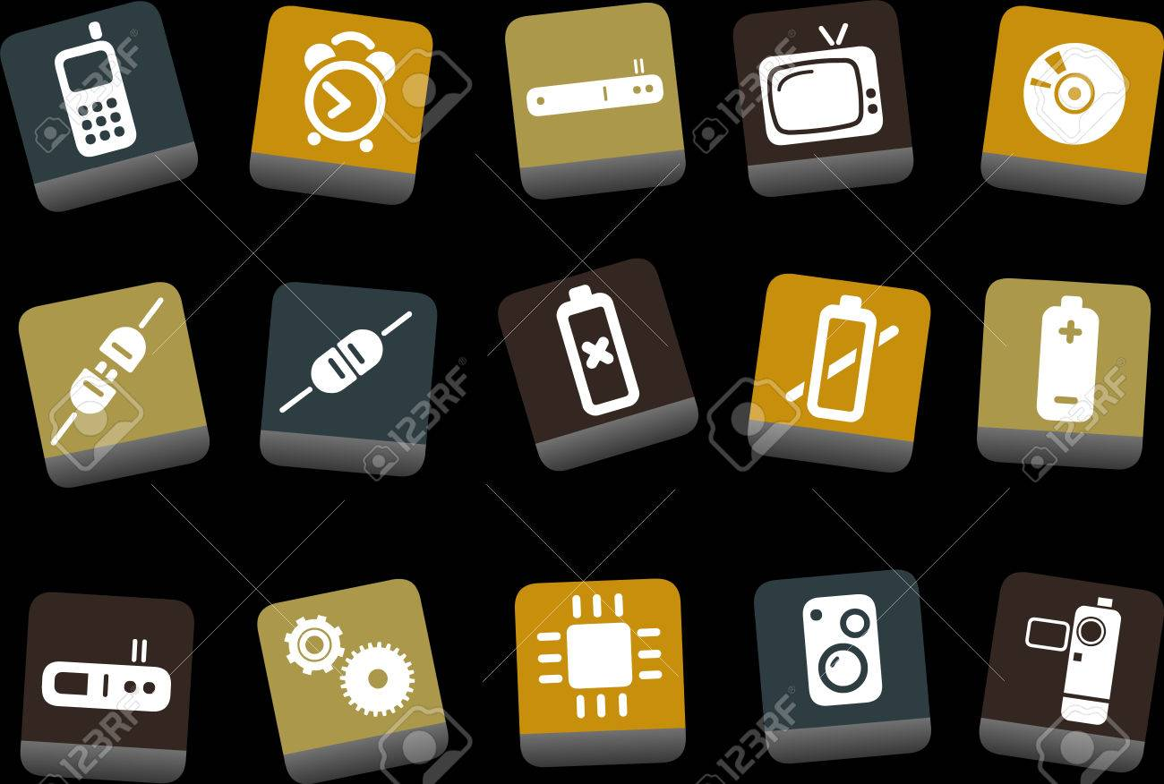 Vector icons pack - Yellow-Brown-Blue Series, electronic collection Stock Vector - 5057695