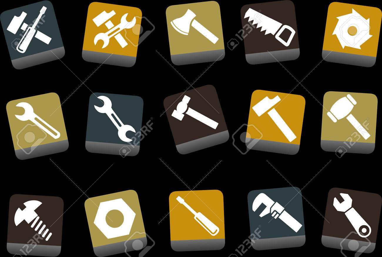Vector icons pack - Yellow-Brown-Blue Series, tool collection Stock Vector - 5057659