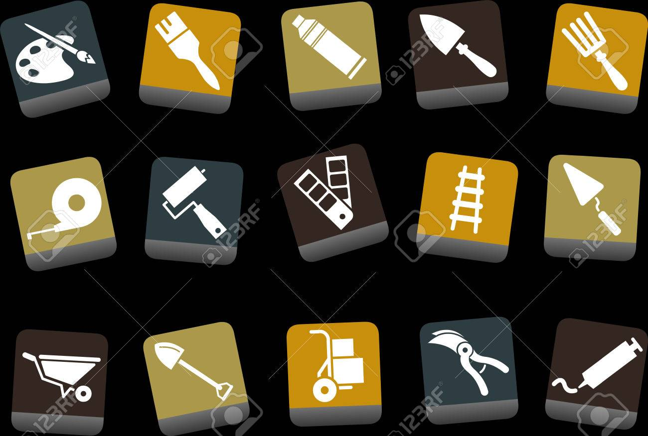 Vector icons pack - Yellow-Brown-Blue Series, tool collection Stock Vector - 5057664