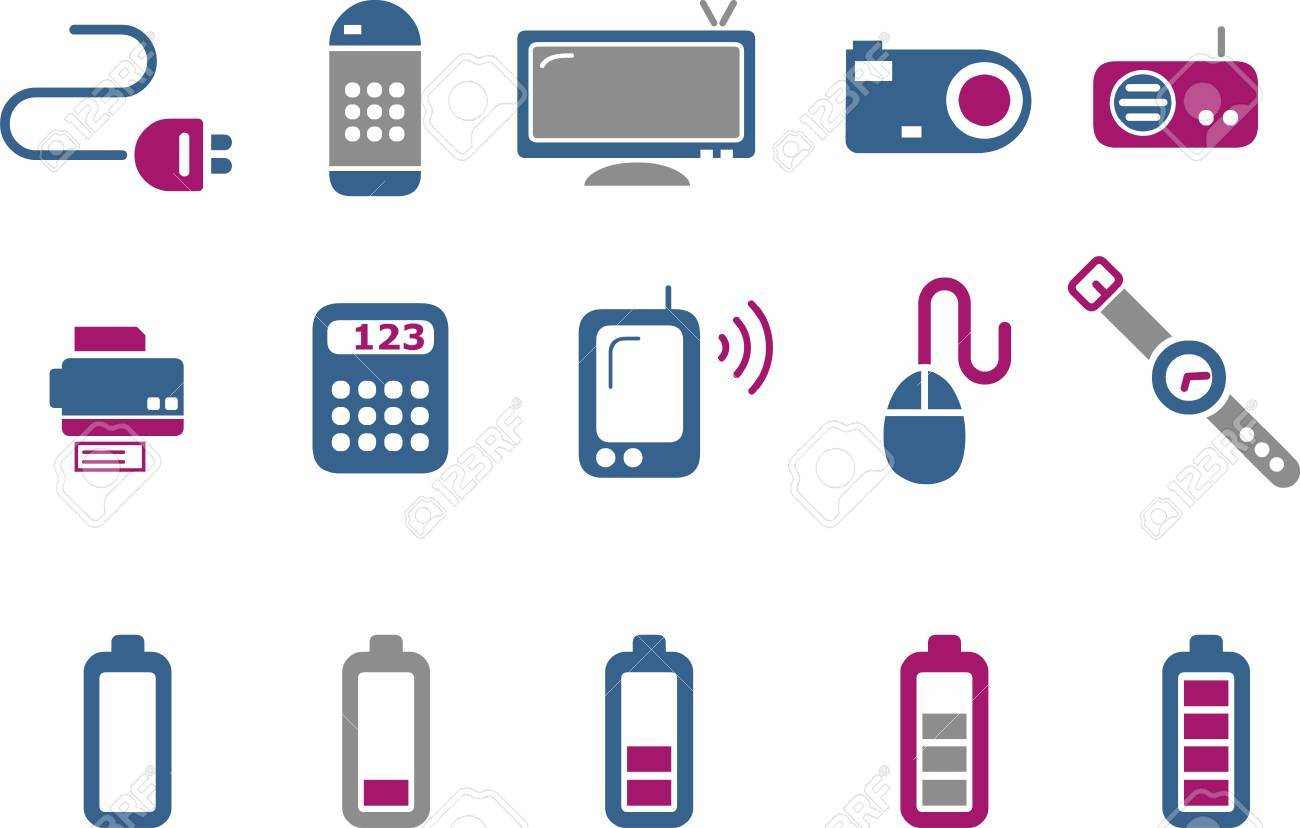 Vector icons pack - Blue-Fuchsia Series, electronic collection Stock Vector - 5057537