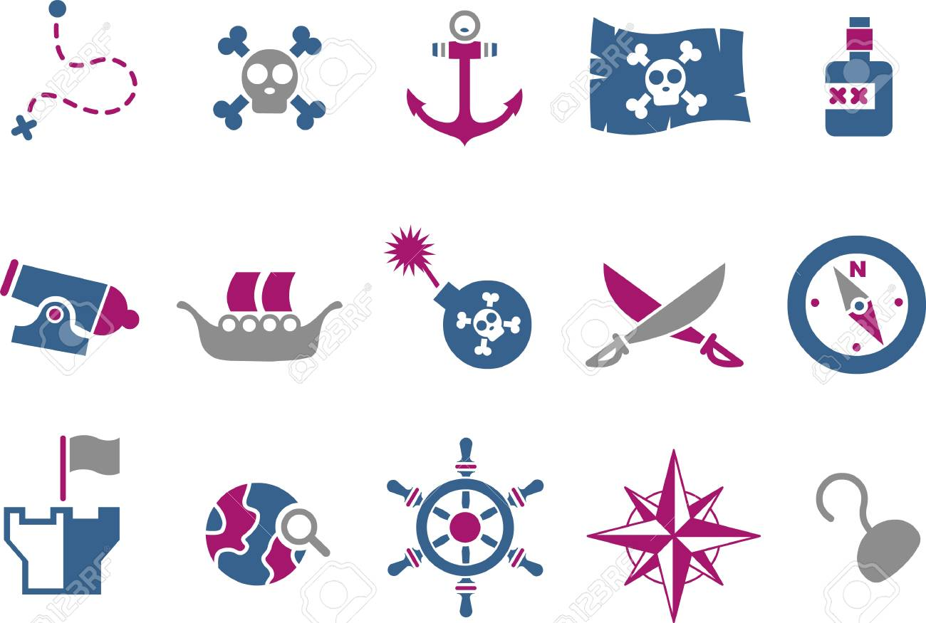 Vector icons pack - Blue-Fuchsia Series, pirate collection Stock Vector - 5057615