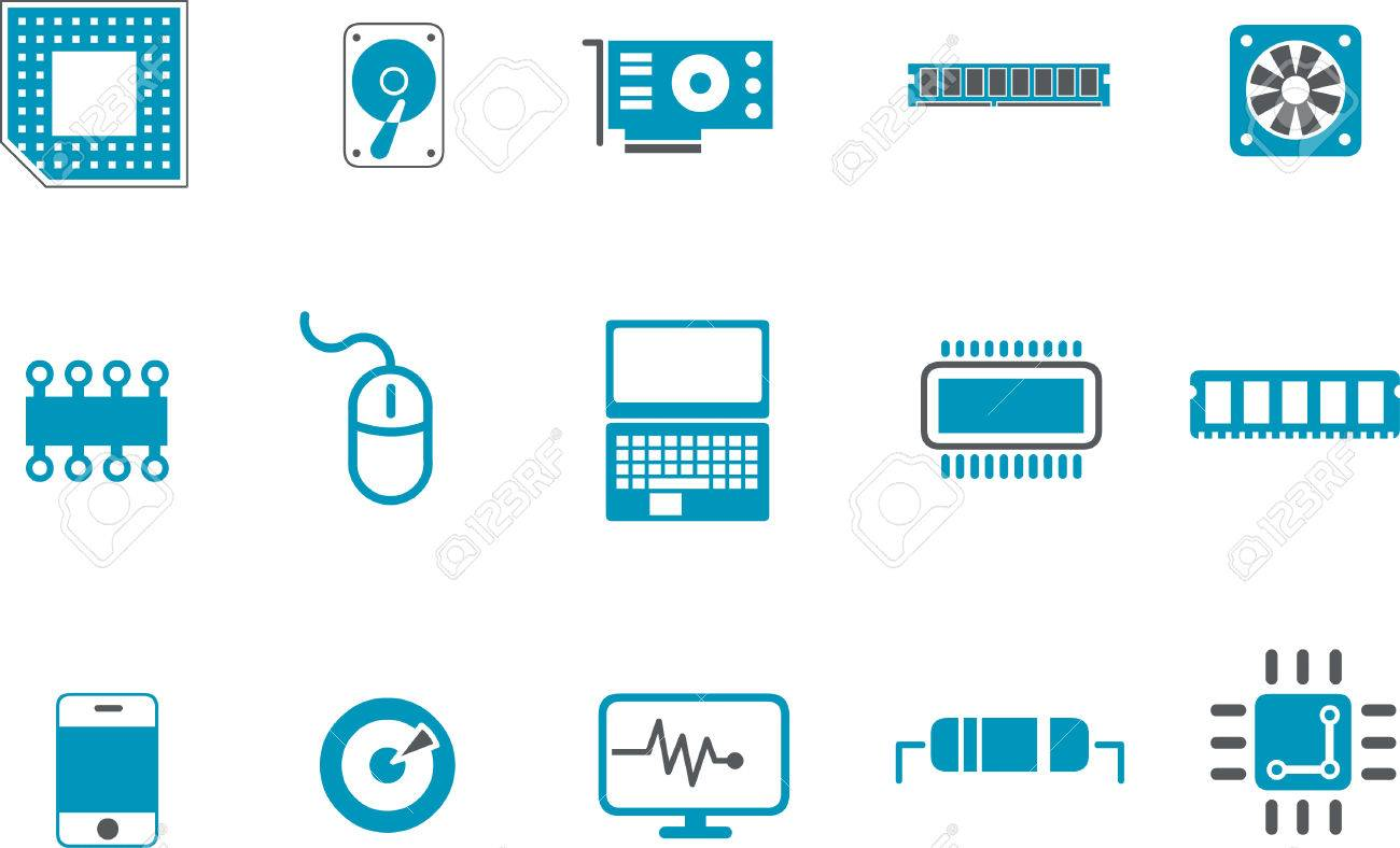 Vector icons pack - Blue Series, hardware collection Stock Vector - 5601388