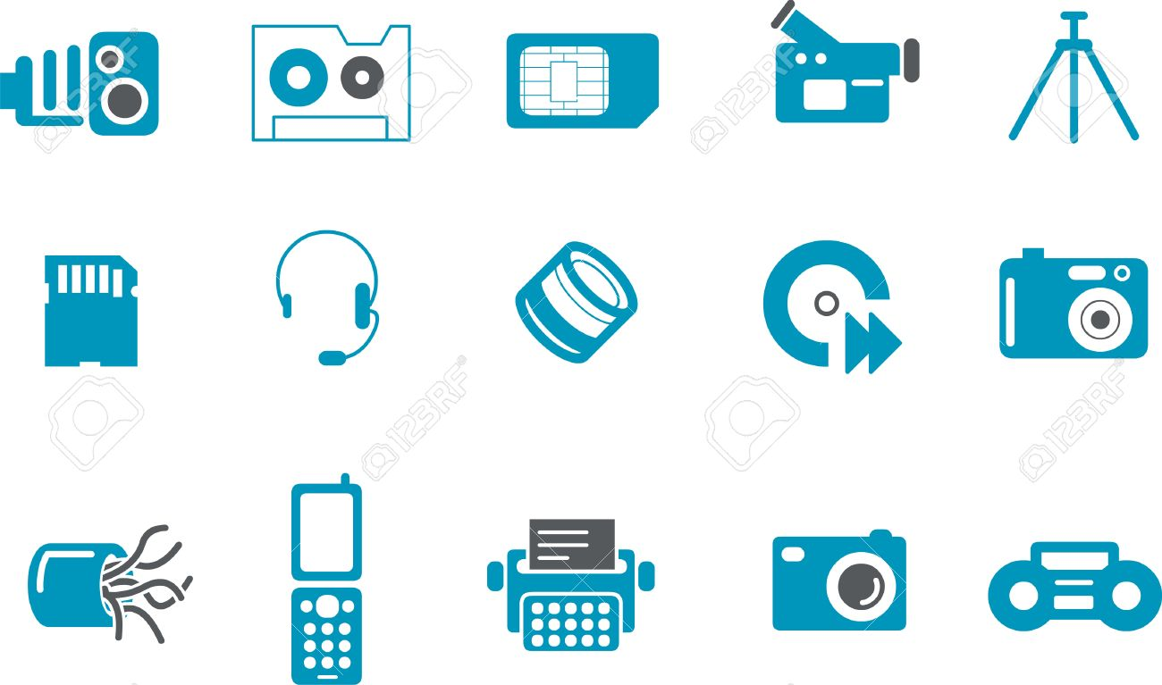 Vector icons pack - Blue Series, hi-tech collection Stock Vector - 5601384