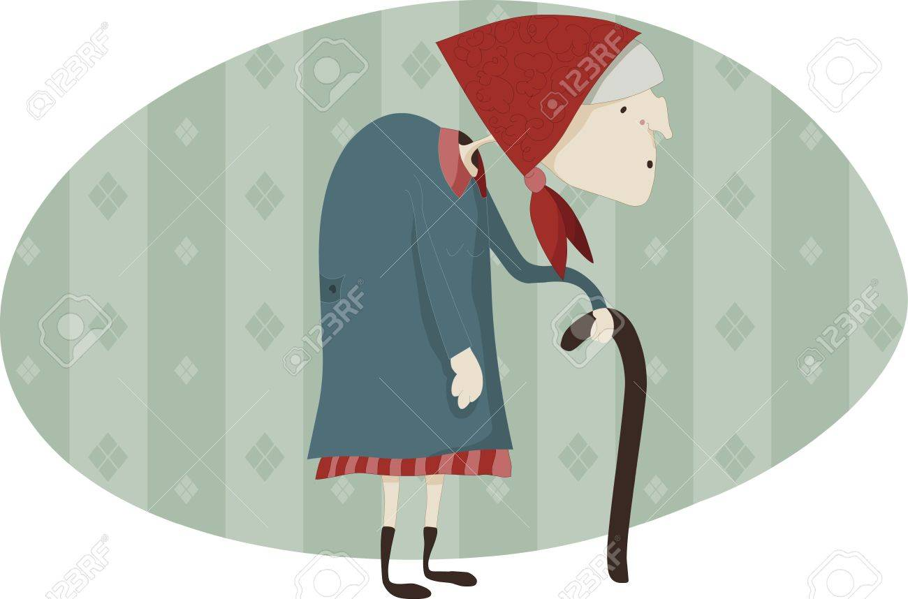 Old woman with a walking-stick while walk Stock Photo - 6187088