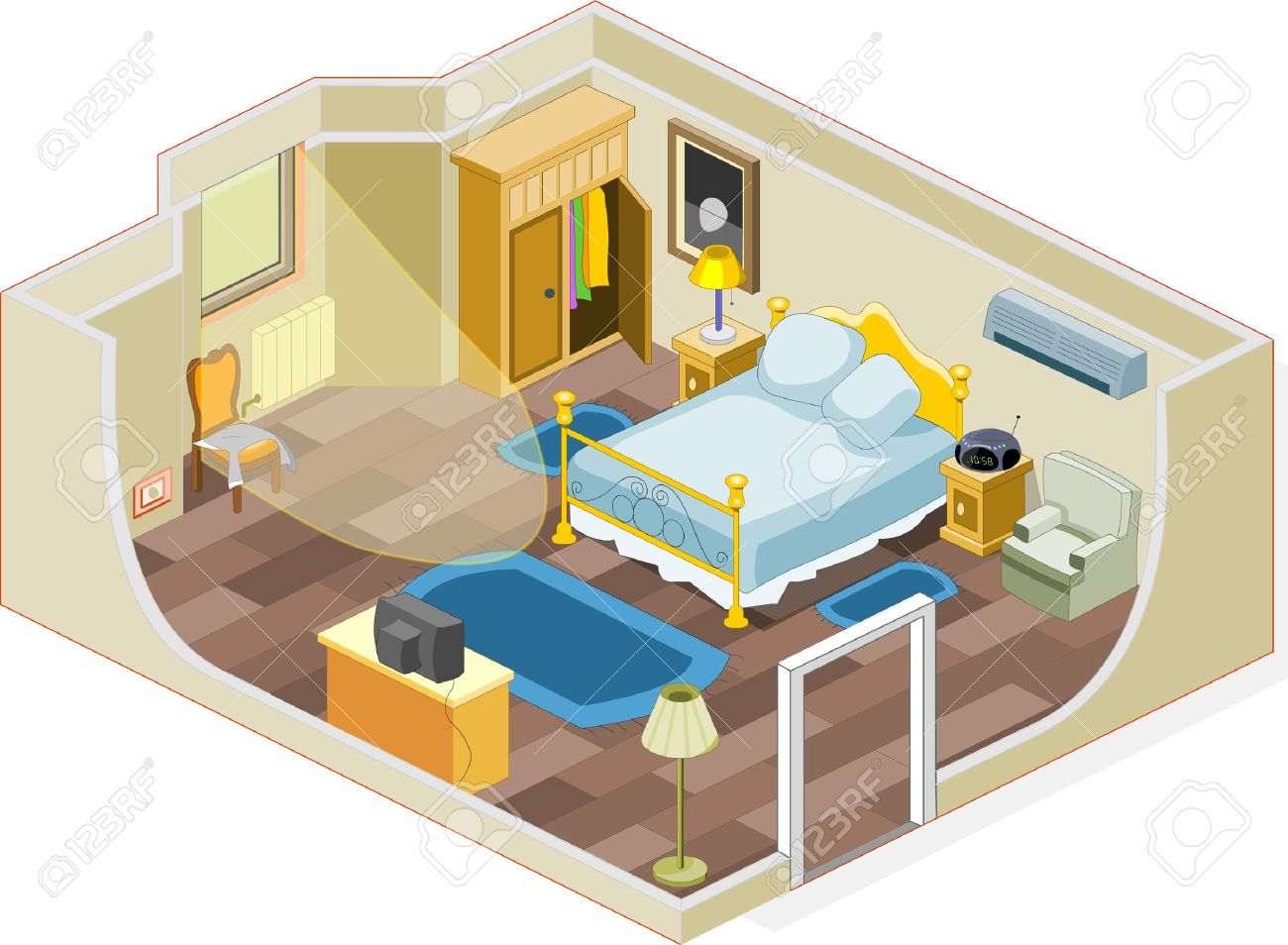 Bedroom Cartoon: Furniture And Objects Generally Used In A Bedroom  Illustration