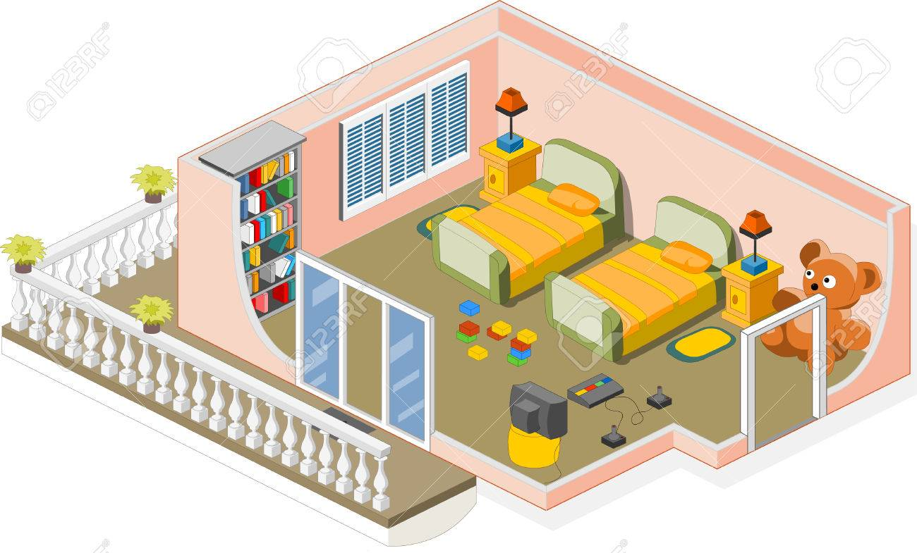 Furniture and objects generally used in a children room Stock Vector - 6381048