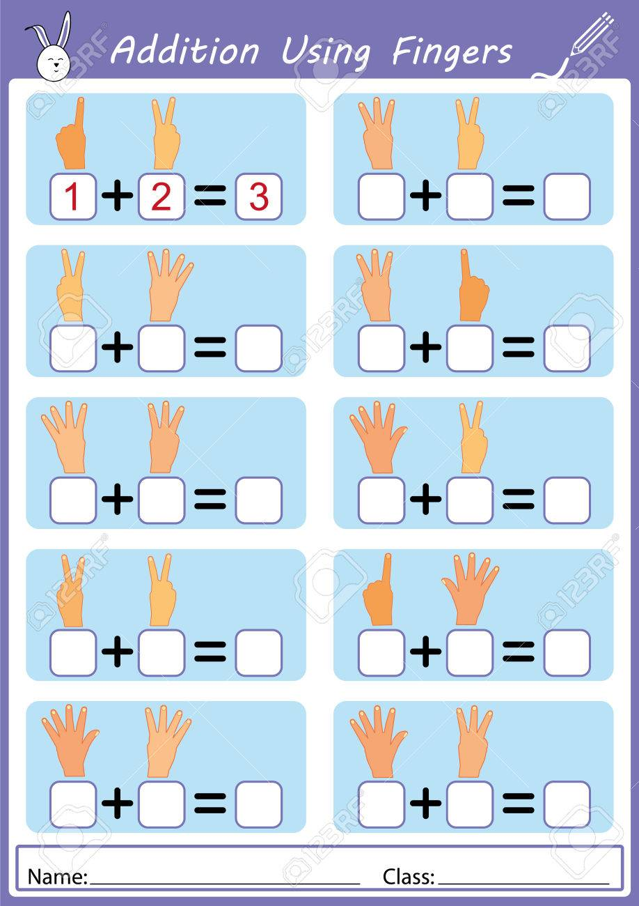 Addition Using Fingers, Math Worksheet Stock Photo, Picture And ...
