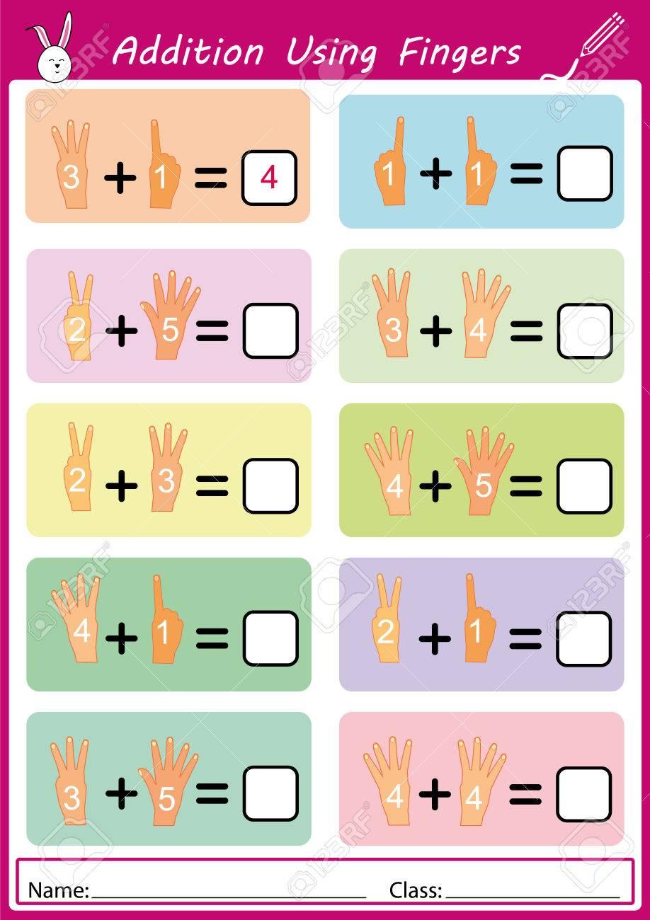 Hinzufügen Mit Fingern, Mathe Arbeitsblatt Für Kinder Lizenzfrei ...