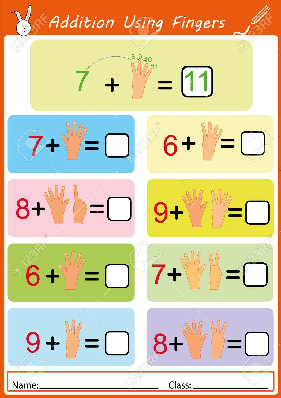 Addition Using Fingers, Math Worksheet For Kids Stock Photo, Picture ...