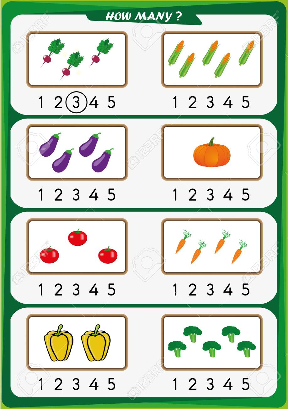 Worksheet For Preschool Children, Count The Number Of Objects ...