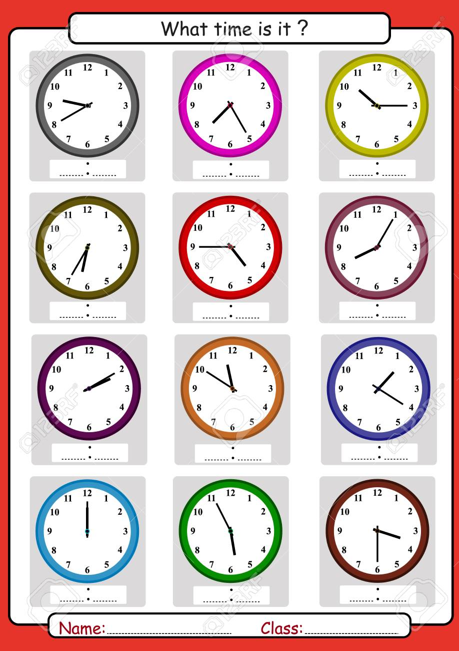 What time is it, What is the time, draw the time, Learning to Tell Time, math worksheet - 97494406