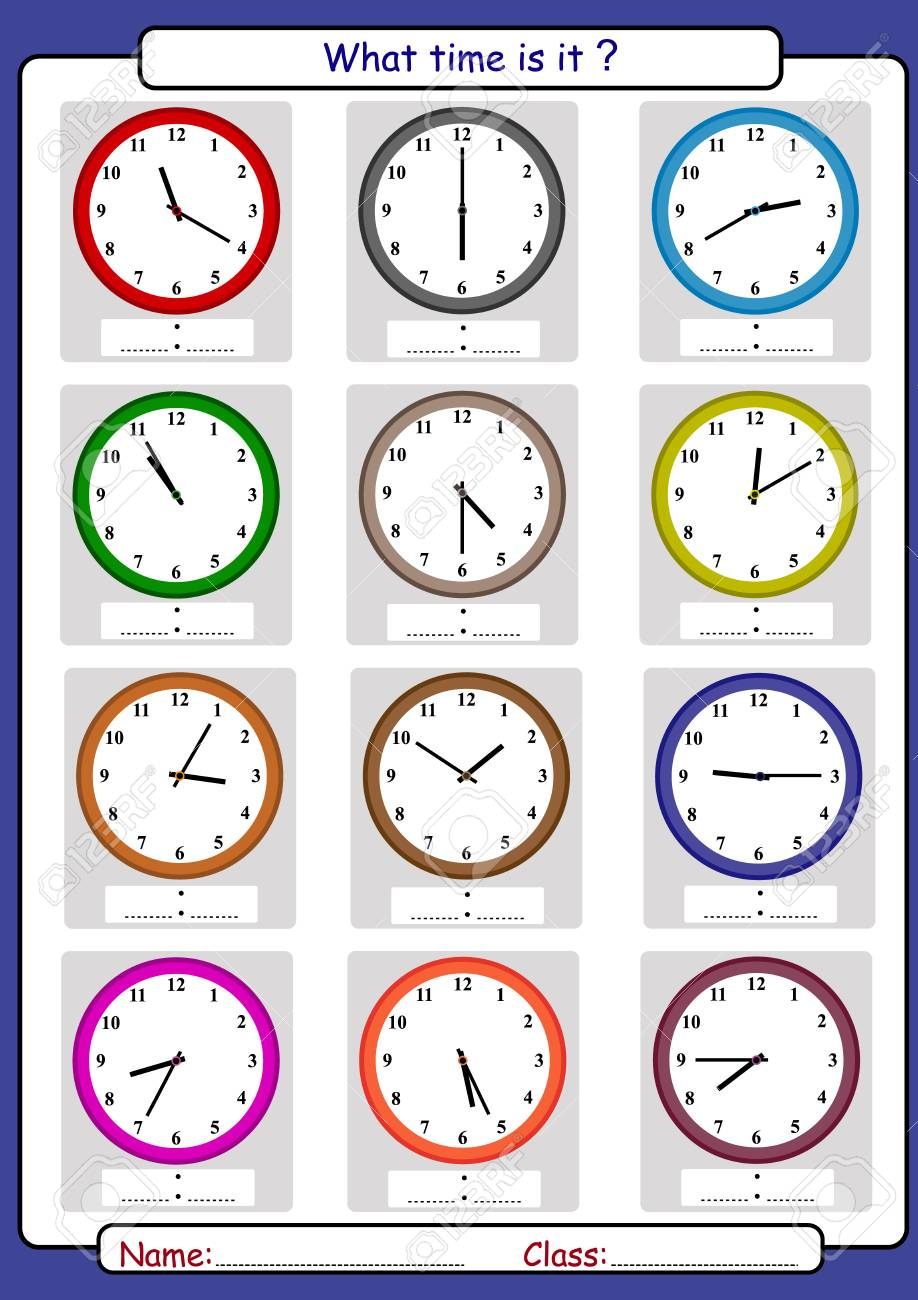 What time is it, What is the time, draw the time, Learning to Tell Time Vector illustration. - 97738963