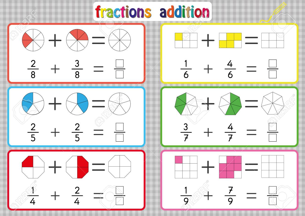 Fractions Addition, Printable Fractions Worksheets for kids , fraction addition problems. Add two fractions and write the answer in the box. - 97999400