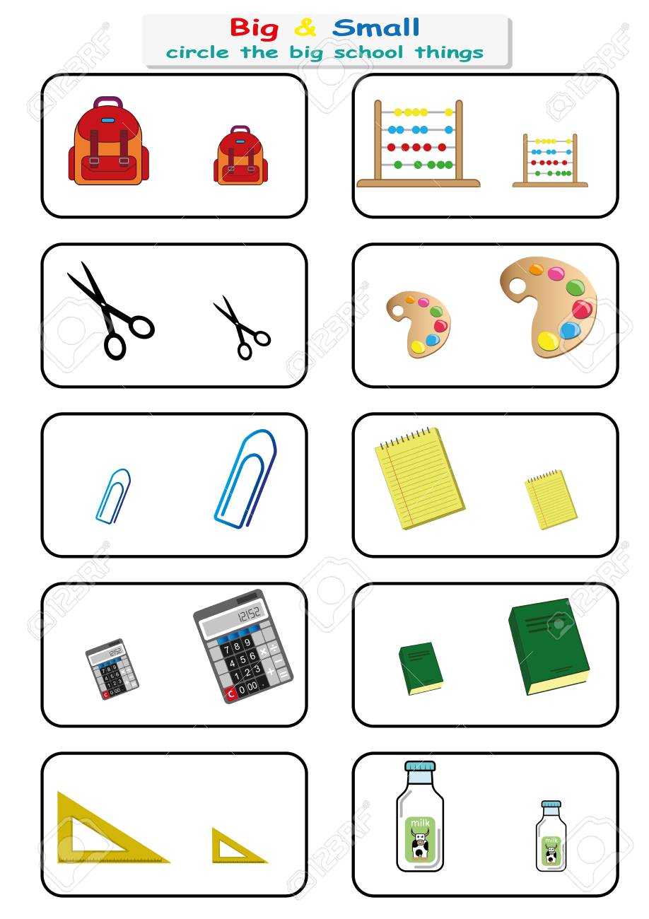 Circle The Big School Things, Find Big Or Small Worksheet For ...
