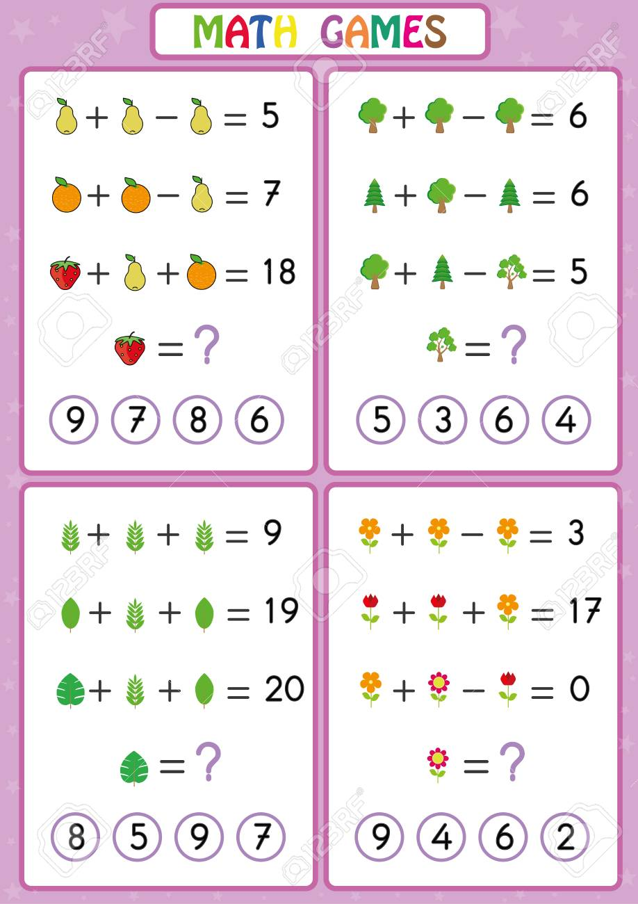 Mathematics educational game for kids, fun worksheets for children, Kids are learning to solve problems. - 106248582