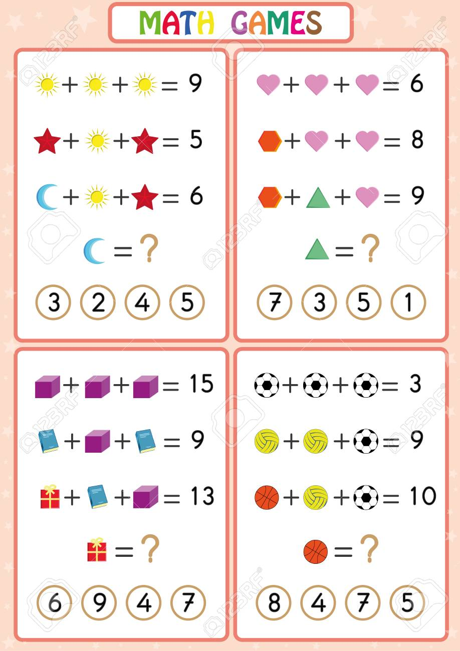 Mathematics educational game for kids, fun worksheets for children, Kids are learning to solve problems. - 112051302