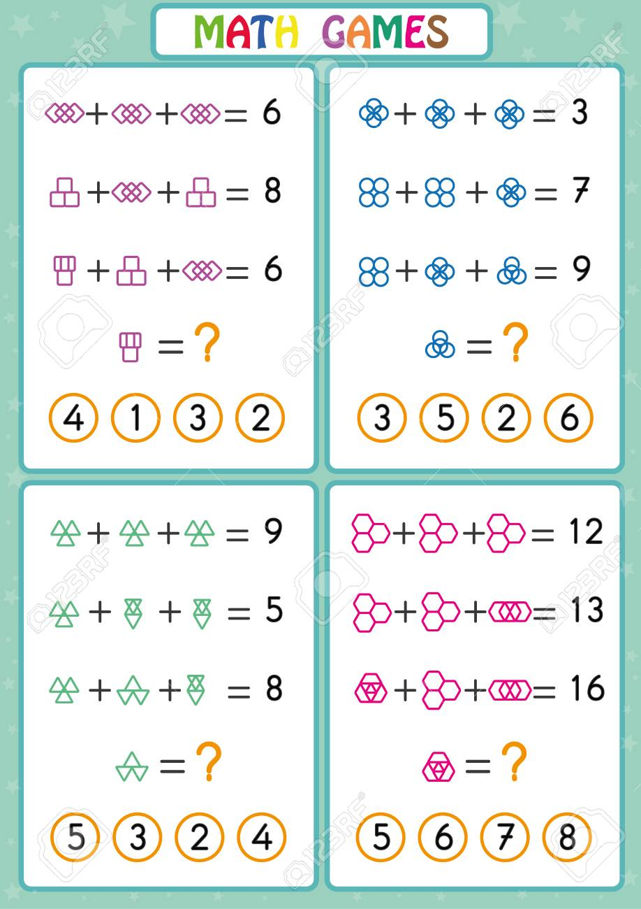 Mathematics educational game for kids, fun worksheets for children,..