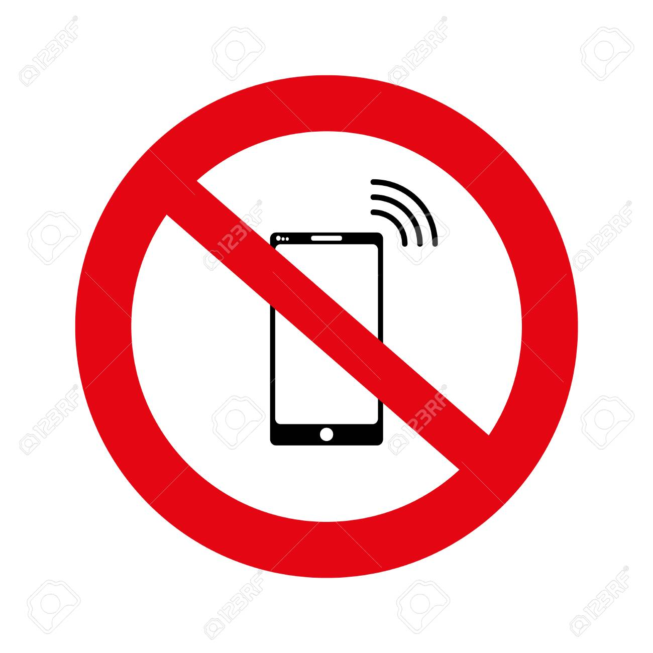 No cell, No mobile phone sign banner, No phone sign on white background, Hand on a no mobile phones sign isolated in white, illustration, vector, - 111941822