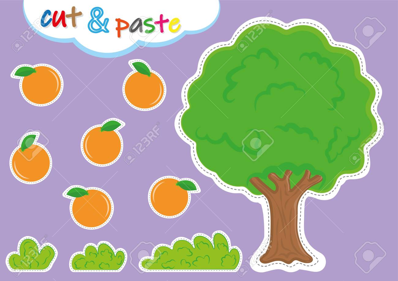 cut and paste activities for kindergarten, preschool cutting and pasting worksheets for kids - 124708711