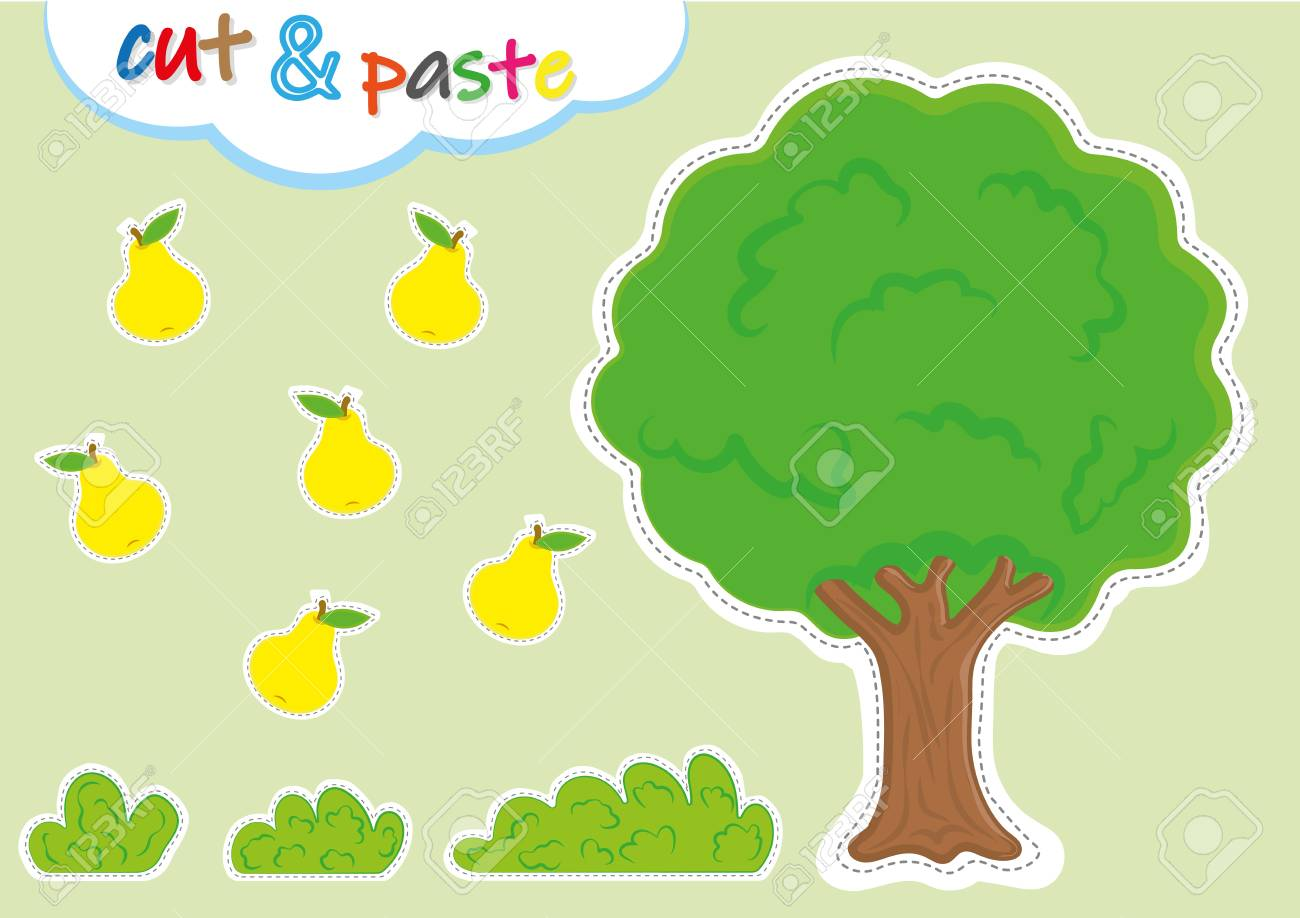 cut and paste activities for kindergarten, preschool cutting and pasting worksheets for kids - 124708712