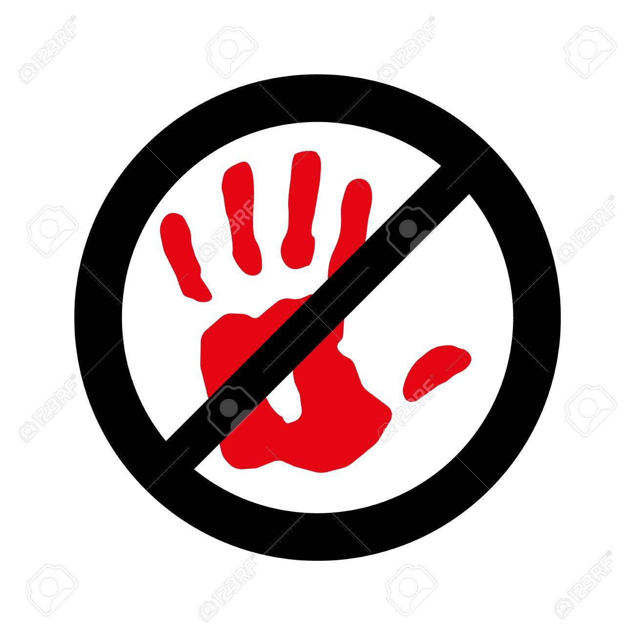 No entry, not allowed hand sign on white, Stop hand, Sign do not enter. - 134200211