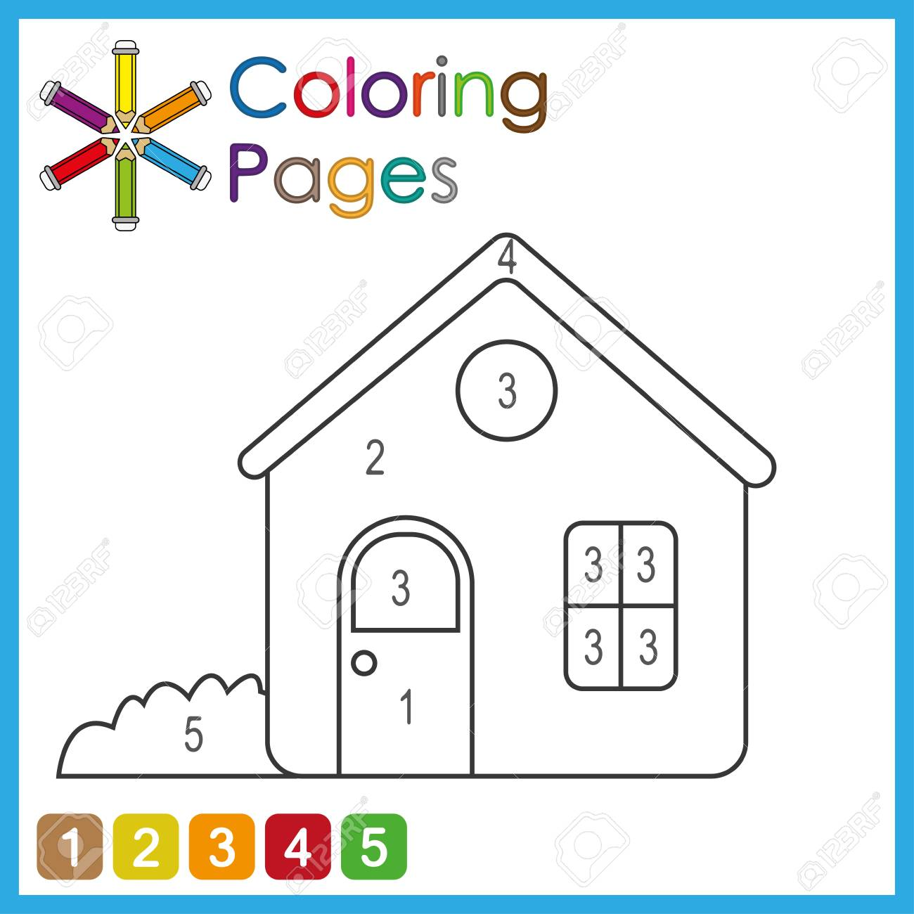 coloring page for kids, color the parts of the object according to numbers, color by numbers, activity pages - 122858947