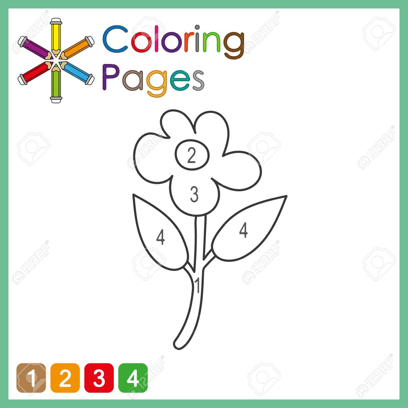 coloring page for kids, color the parts of the object according to numbers, color by numbers - 134278184