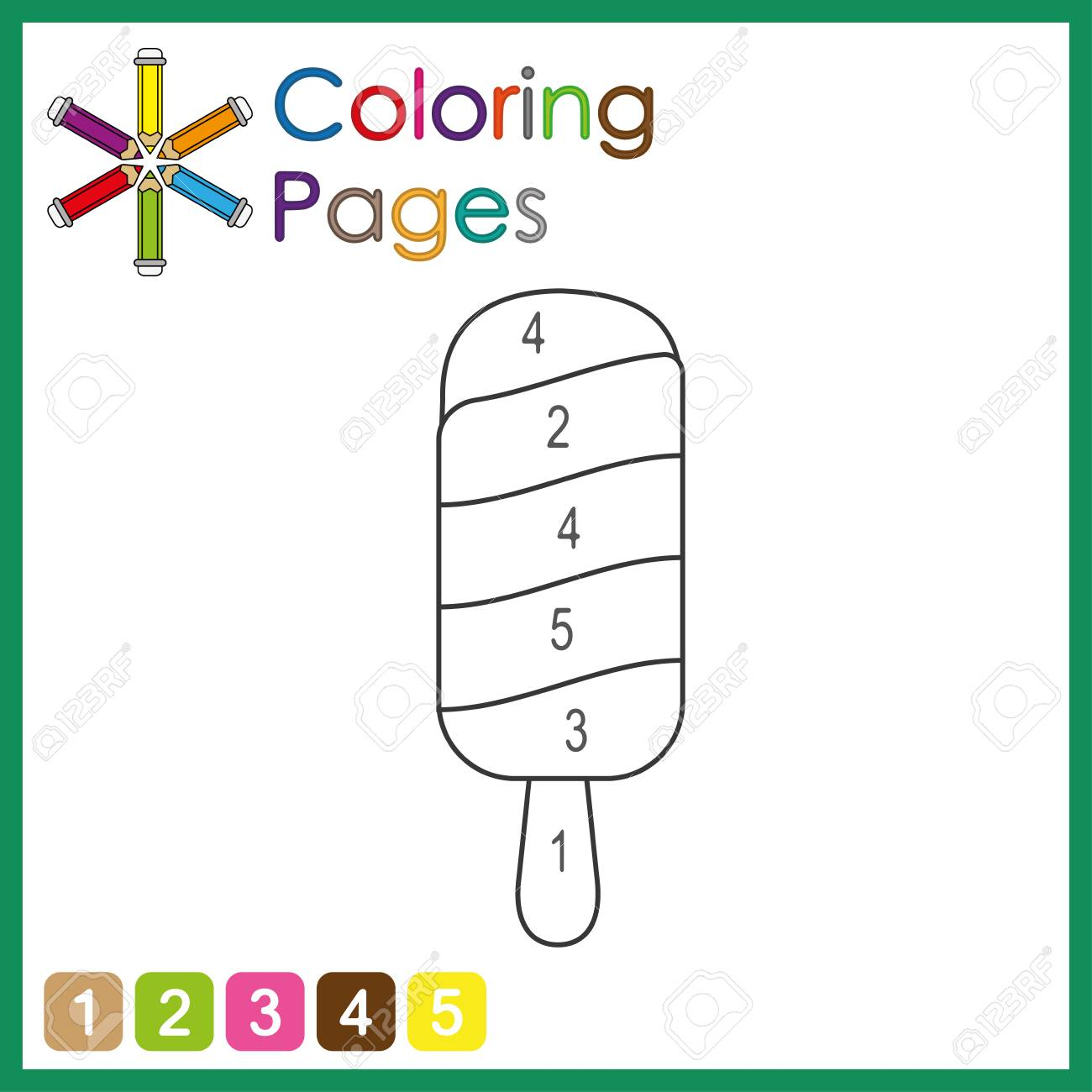 coloring page for kids, color the parts of the object according to numbers, color by numbers, activity pages - 122858948