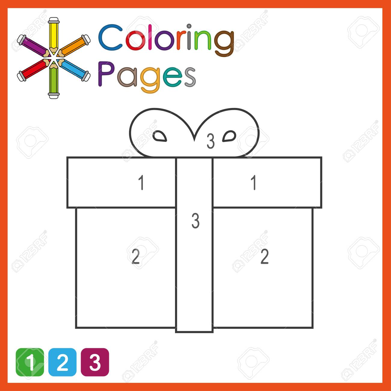 coloring page for kids, color the parts of the object according to numbers, color by numbers, activity pages - 122858949