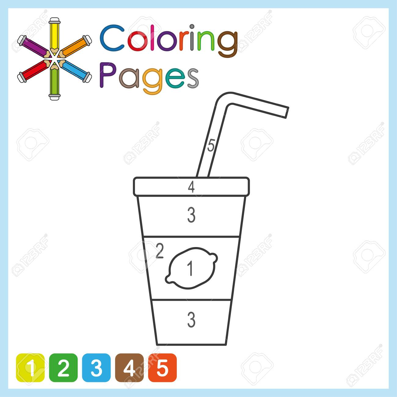 coloring page for kids, color the parts of the object according to numbers, color by numbers - 134278186