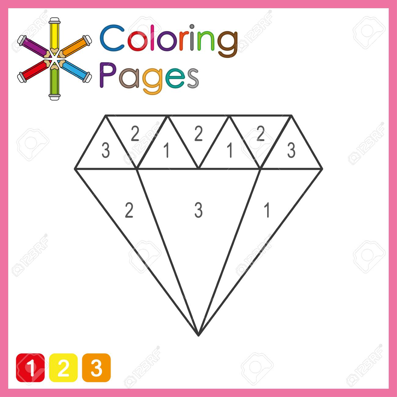 coloring page for kids, color the parts of the object according to numbers, color by numbers, activity pages - 122858951