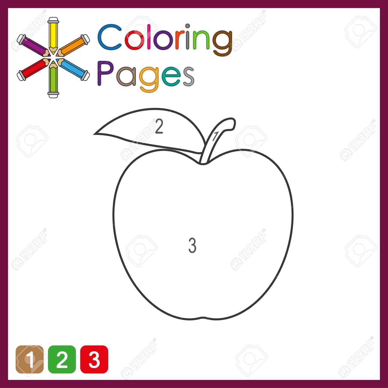 coloring page for kids, color the parts of the object according to numbers, color by numbers, activity pages - 122858952