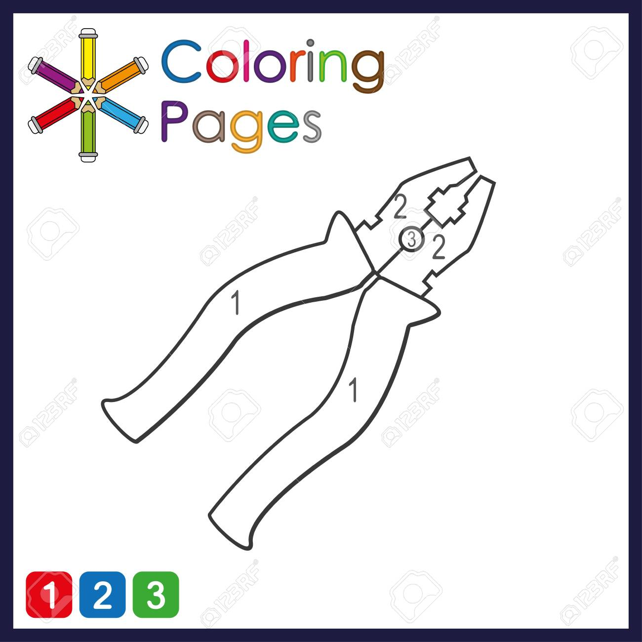 coloring page for kids, color the parts of the object according to numbers, color by numbers - 134352796
