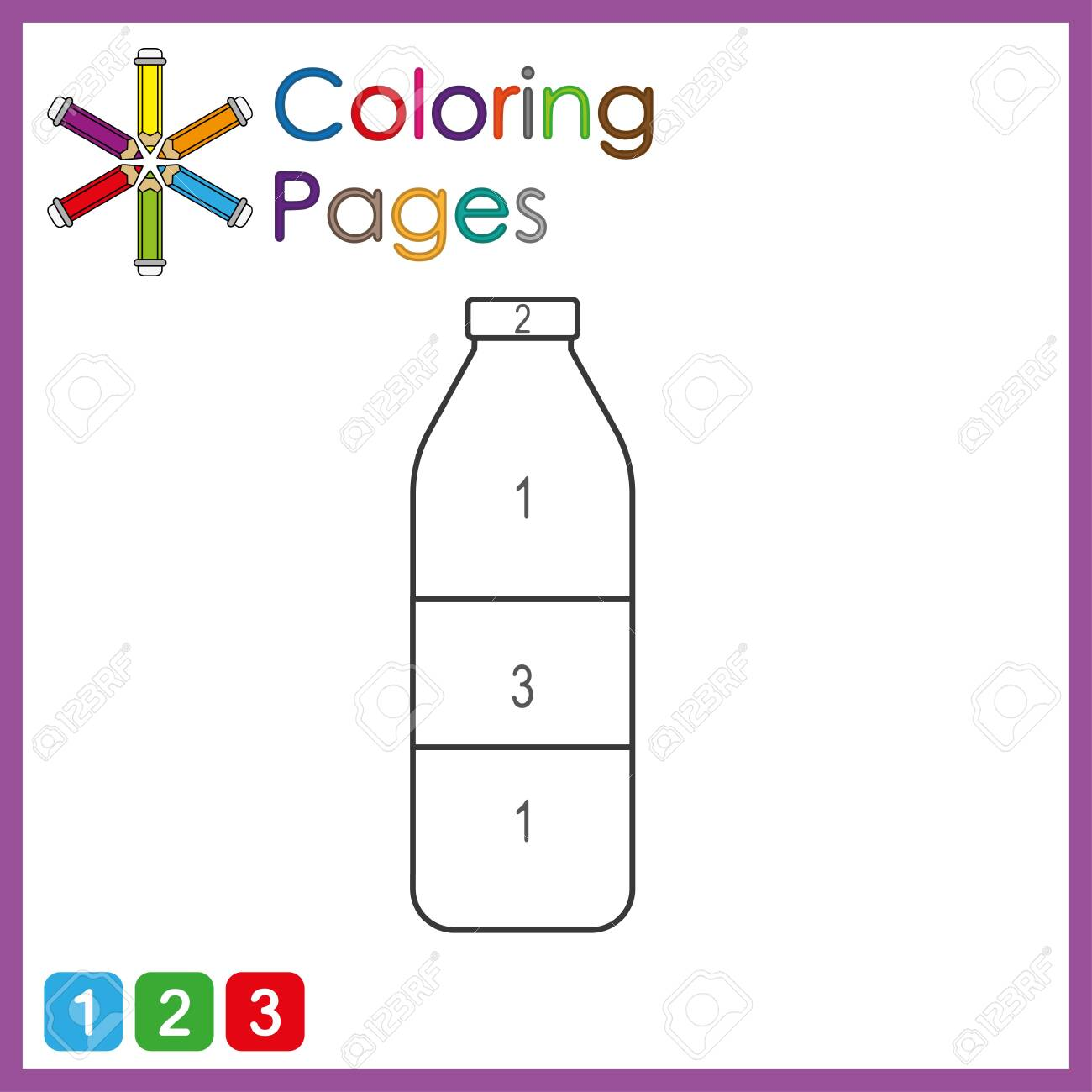 coloring page for kids, color the parts of the object according to numbers, color by numbers, activity pages - 122681795