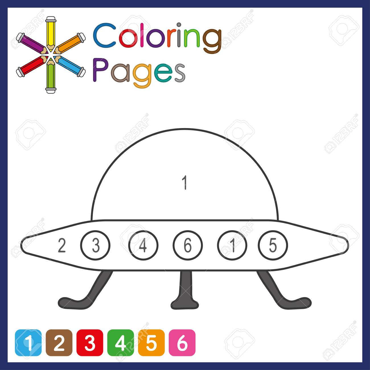 coloring page for kids, color the parts of the object according to numbers, color by numbers, activity pages - 122681798