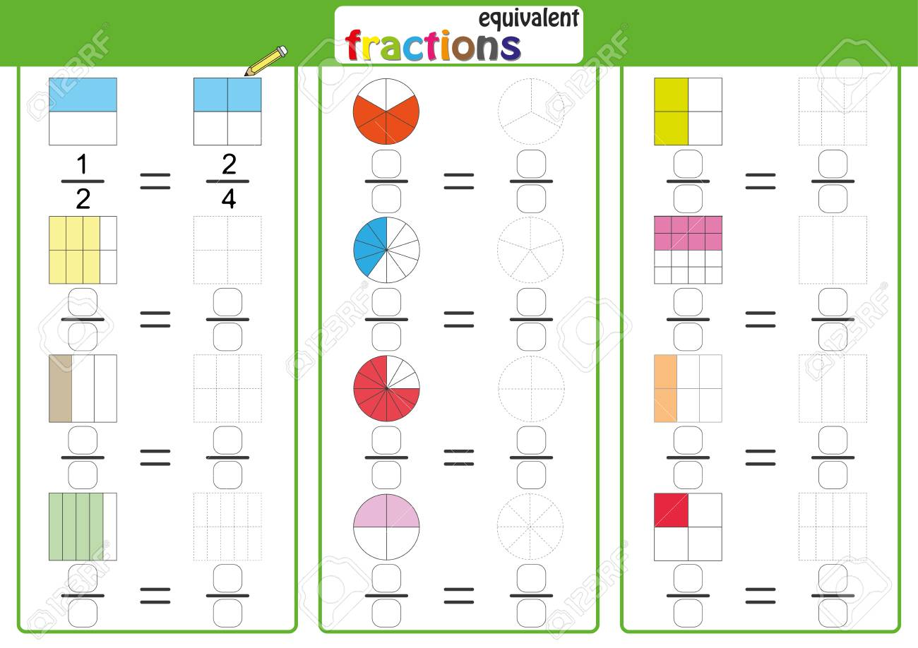Equivalent frantions, mathematics, math worksheet, find drawing and color - 122681805