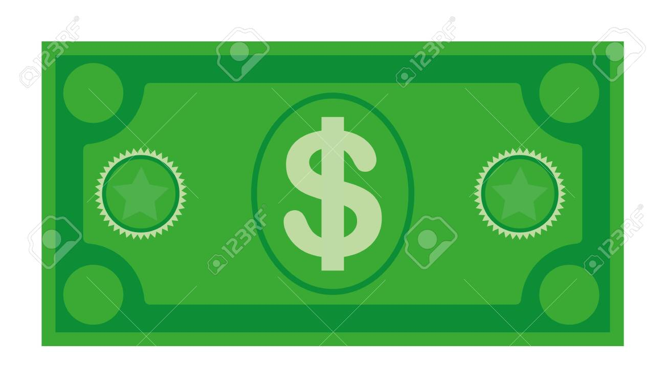 Dollar currency banknote icon, stock vector illustration. Dollar currency icon in flat style. Money cash. Dollar cash vector illustration on isolated background. Banknote bill business - 122551314