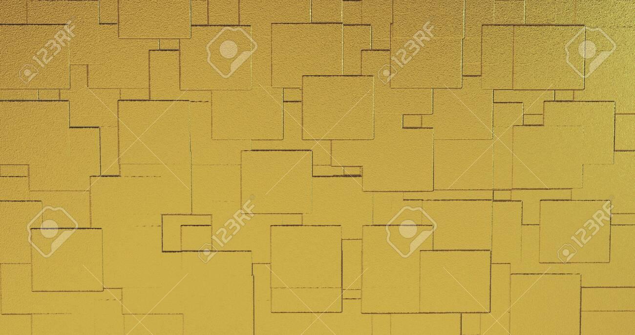 Abstract geometric rose golden background foil tiles texture seamless background. Digital 3d surface. 3D illustration - 141045580