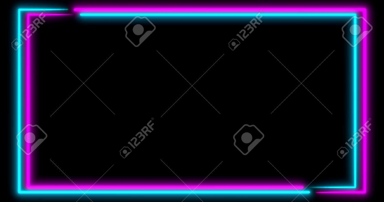 Neon background with LED frame screens. Fluorescent abstract blue, purple spectrum color. Ultraviolet lights . Virtual reality future design 3d render. 3D illustration - 165178018