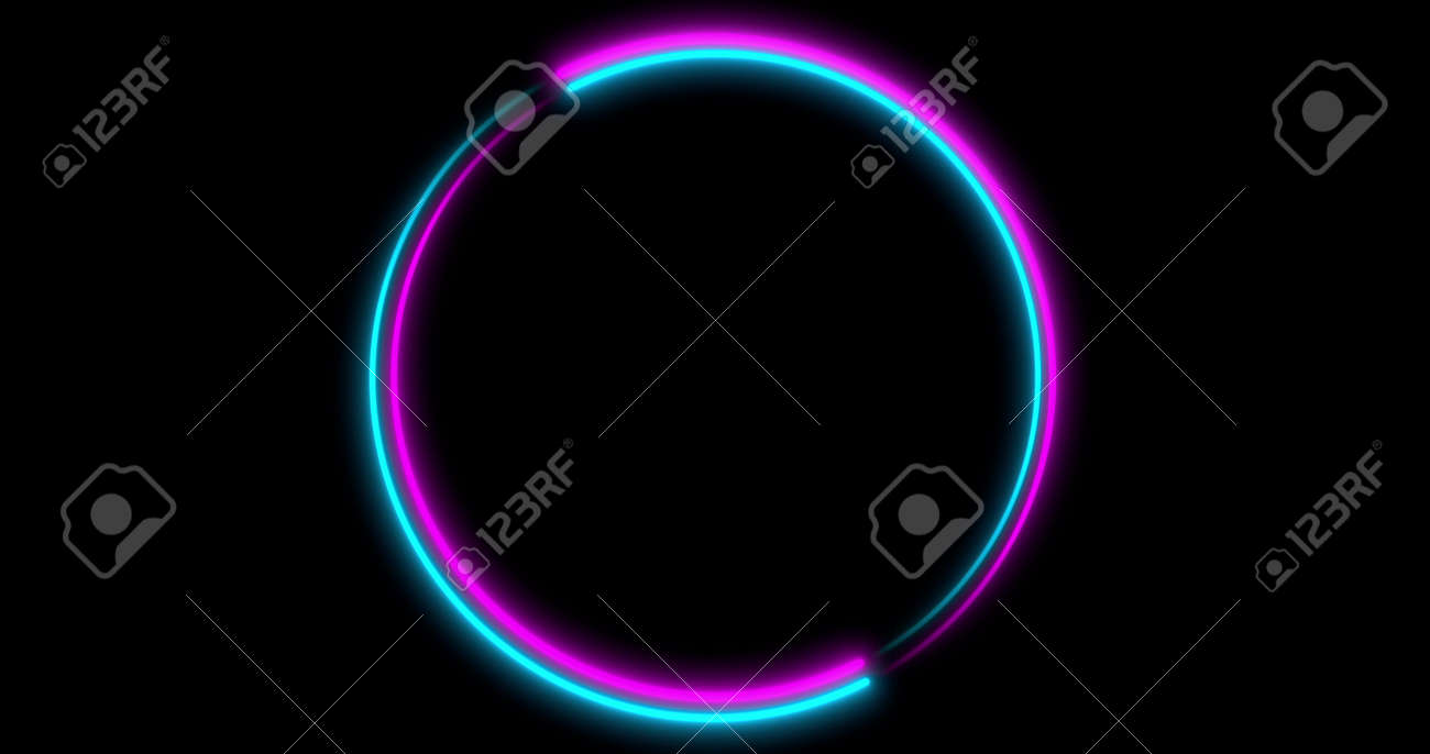 Neon Circle background with LED frame screens. Fluorescent abstract blue, purple spectrum color. Ultraviolet lights . Virtual reality future design 3d render. 3D illustration - 165178019