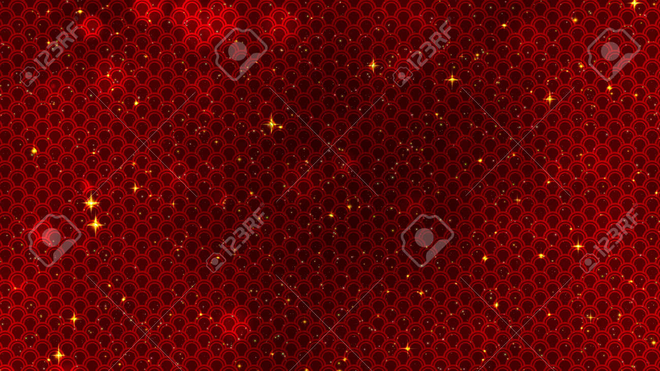 Red Chinese New Year background with golden stars glittering, and dragon pattern. 3D rendering. Magical Happy new year animation, 3D illustration - 165178021