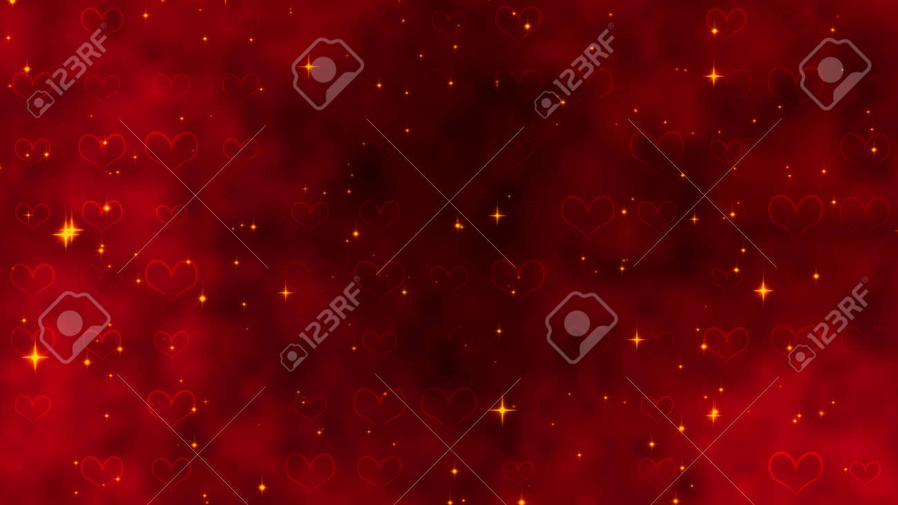 Red pattern with golden confetti, stars and red hearts. For St. Valentines Day, Mother's Day, anniversary, wedding invitation e-card. 3D rendering 3D illustration - 165178031