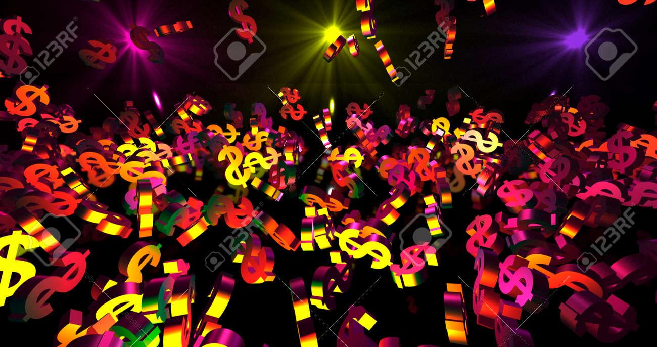 Golden 3d dollar symbols falling on the black background. Party, finance event background. 3D render 3D illustration - 165178032