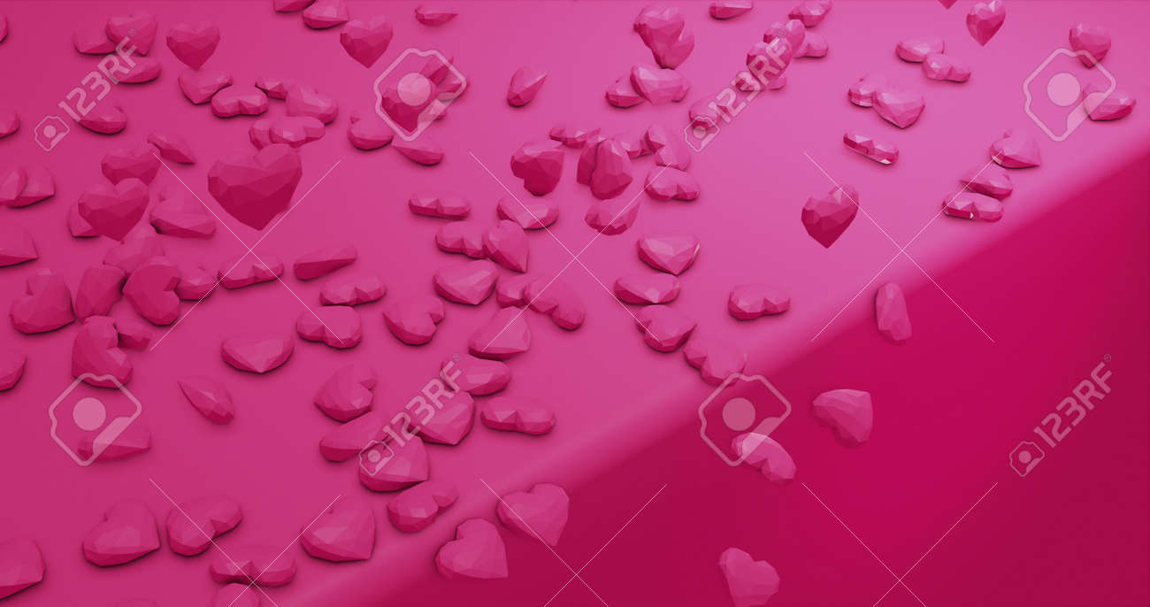Romantic cute falling polygonal hearts. Valentines Day. wedding event background. 3D rendering 3D illustration - 165178035