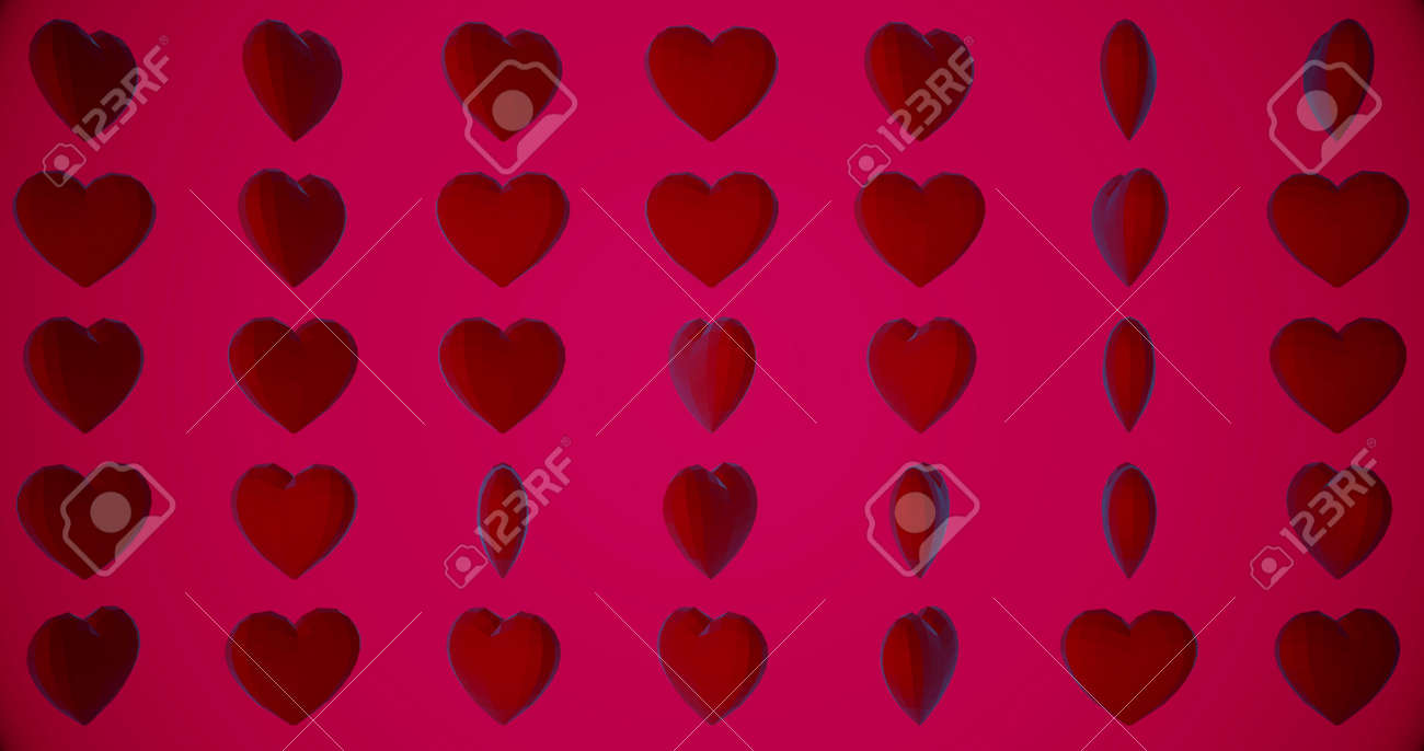 Romantic pattern with polygonal red hearts. For St. Valentines Day, Mother's Day, anniversary, wedding invitation e-card. 3D rendering 3D illustration - 165178037