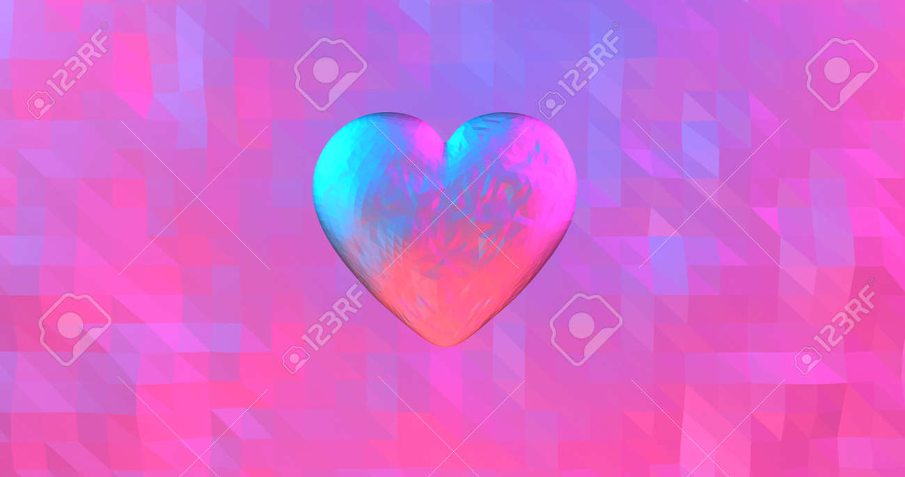 Neon background with glowing ultraviolet heart. For St. Valentines Day event, Mother's Day, anniversary, wedding invitation e-card. 3D rendering 3D illustration - 165178042