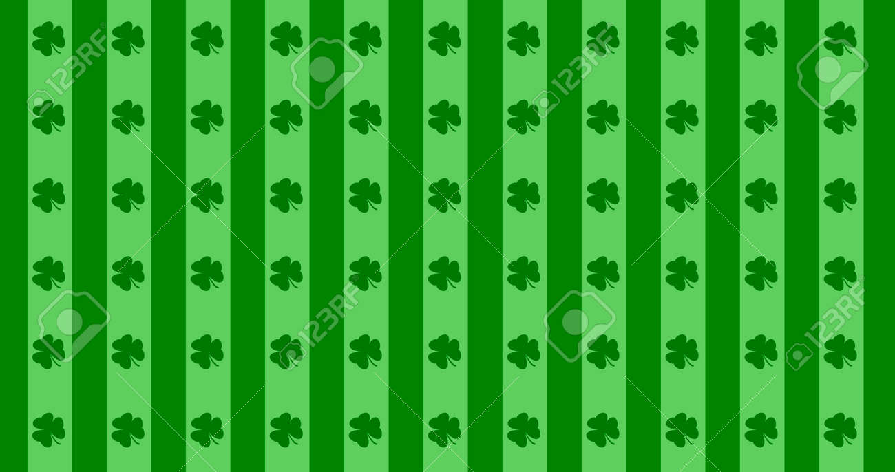 St. Patrick's Day green leaves background. Patrick Day backdrop with falling shamrock leaf pattern. For festive pub party. 3d render 3D illustration - 165178045